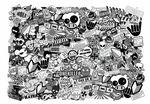Huge 1000x700mm Size LANSCAPE Format With Black & White JDM Drift Style Icons Premium Quality Vinyl Car Sticker Bombing Sheet